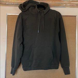 Lululemon olive green hoodie Sz 8 sweatshirt flaws